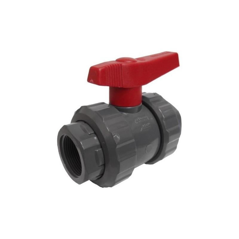 """Válvula PVC presión bola ros-ros 1"""""""